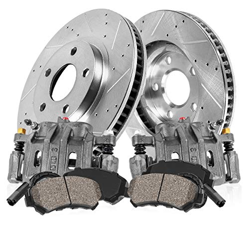 FRONT OE [2] Calipers + [2] Drilled/Slotted Rotors + Low Dust [4] Ceramic Pads + Sensors Kit