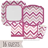 Big Dot of Happiness Chevron Pink - Party Tableware Plates, Cups, Napkins - Bundle for 16