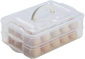 TIAN CHEN Deviled Egg Tray with Lid, 2-Layer, Food Storage Container with Handle, Egg Holder for Refrigerator, large, 40 eggs (transparent)