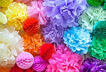 Amazon Baocicco Cotton Polyester Colorful Paper Flower 5x4ft