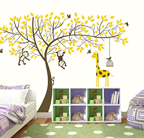 "Yanqiao 63x82.7""DIY Cartoon Forest Animal Elephant Monkey Giraffe Birds Wall Sticker Diy Posters Removable Art Decals for Kids Rooms Decoration,Brown+Yellow"