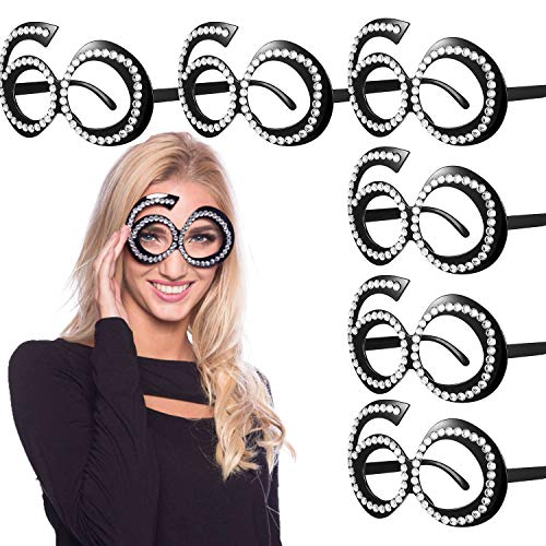 60th Birthday Decorations – 60th Birthday Glasses – Number Crystal Frame, Party Favors, Funny Costume Sunglasses, Novelty Eyewear Celebration Decoration Perfect for 60th Birthday Gifts 6 Pack