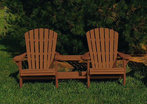 Pressure Treated Pine Fan Back Adirondack Settee with Table Amish Made USA- Canyon Brown Stain Fan Back Settee