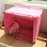 Dog Kennel Cage Covers Windbreak Waterproof Puppy Cat Wire Crate Wear Ventilation Window Open For Pets House (L, Pink)
