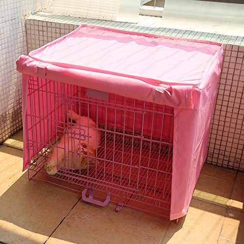 Dog Kennel Cage Covers Windbreak Waterproof Puppy Cat Wire Crate Wear Ventilation Window Open For Pets House (S, Pink) by S-LINE (Image #7)