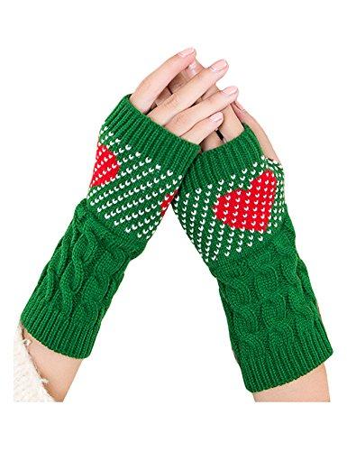 ビエスディディ レディース 全8色 ファッション ケーブル編み ハートプリント 保暖手首 指なし グローブ