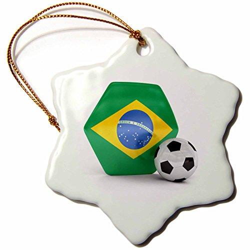 3dRose orn_181893_1 Brazil Soccer Ball Snowflake Ornament, Porcelain, 3-Inch by 3dRose