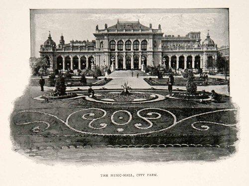1902 Print Music Hall Opera House City Park Vienna Austria Gardens Europe Domes - Original Halftone - City Park Vienna