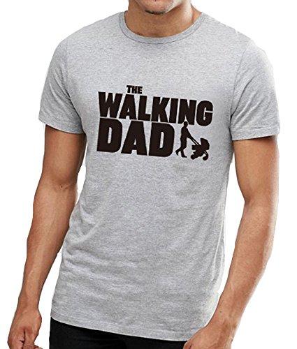 WakeUple Men Summer Short Sleeve The Walking Dad T-Shirt (L, Gray) (Plus T-shirt Size Walking)