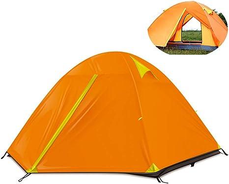MIMI KING Tienda de campaña 3-4 Persona Familia Ligera Impermeable Doble Capa Camping Carpa Laminado Poste de Aluminio cúpula Carpa para Exteriores,Orange: Amazon.es: Deportes y aire libre