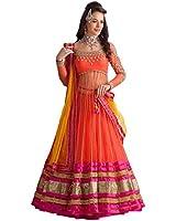 Z Fashion Women's Net Lehenga choli (311 New Orange Pink Lehenga_Orange_Free Size)