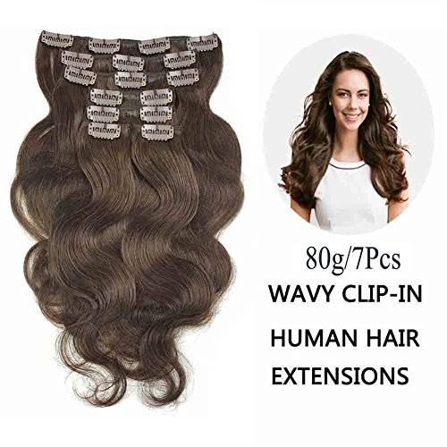 SHOWJARLLY Wavy Clip in Hair Extensions Human Hair 7Pcs/80g Thick Full Head Body Wave Remy Clip in Human Hair Extensions Dark Brown (#2,16inch)