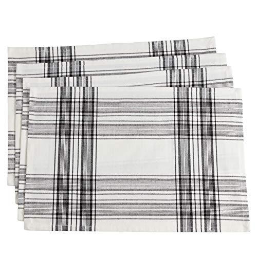 (SARO LIFESTYLE 6562.BK1420B Barry Collection Cotton Plaid Design Placemats (Set of 4), 14