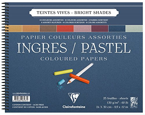 Clairefontaine : Ingres Spiral Pastel Pad 24x30cm : 25s : Bright Colours