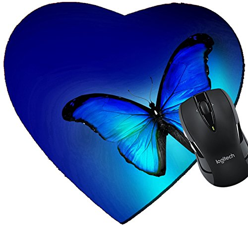 MSD Mousepad Heart Shaped Mouse Pads/Mat design 33249860 Blue butterfly on dark blue background