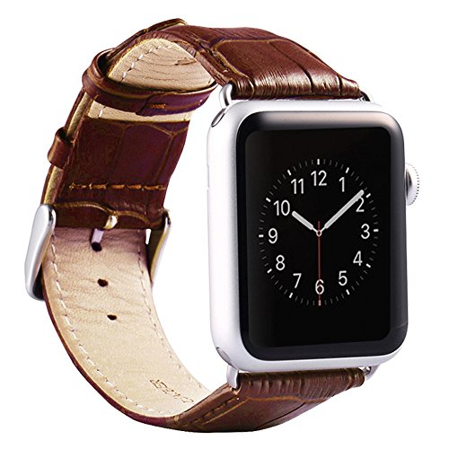 5138255f3 Amazon.com: Valkit for Apple Watch Band - iWatch Bands 38mm Genuine Leather  Strap iPhone Smart Watch Band Bracelet Replacement Wristband with Stainless  ...