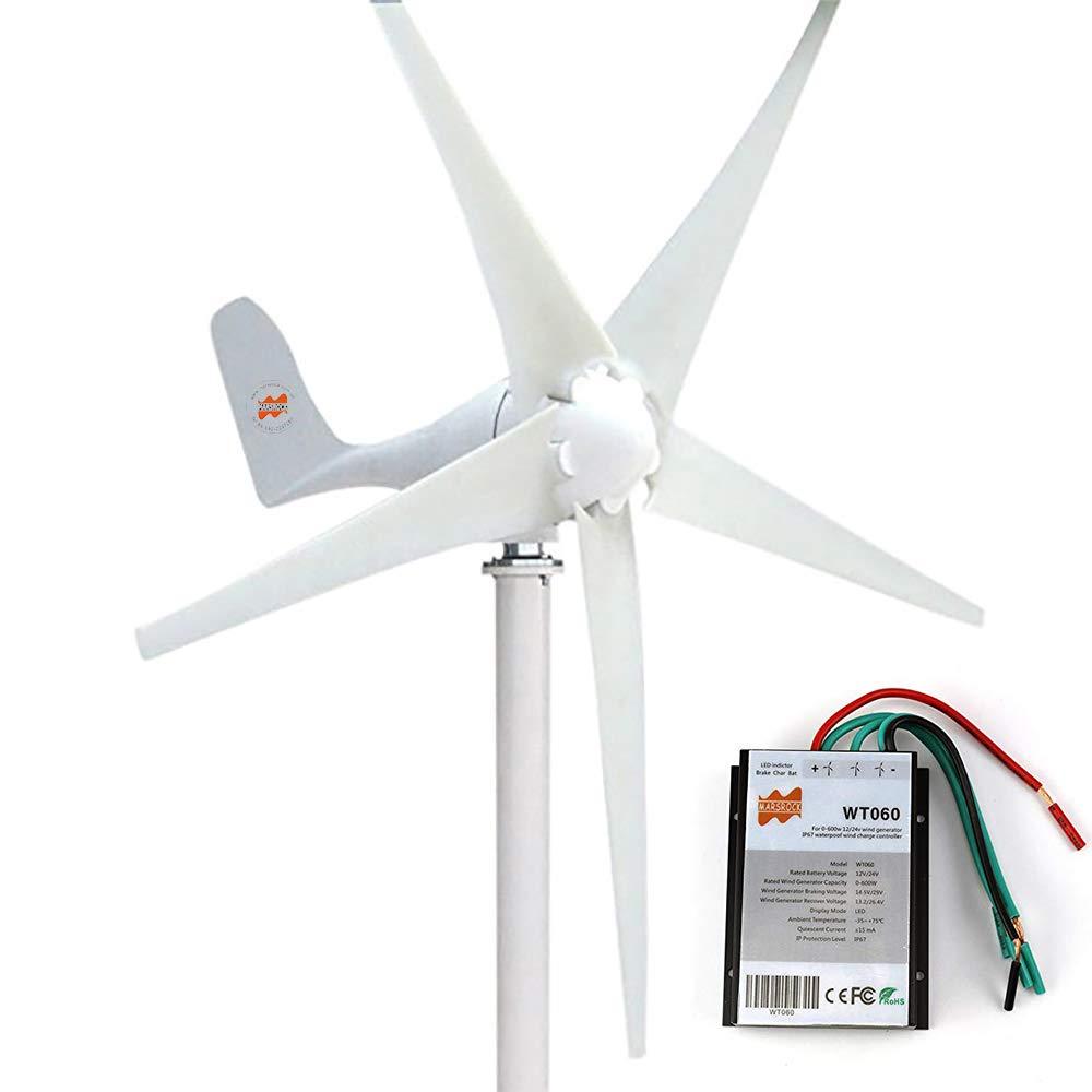 MarsRock 400W Horizontal Wind Turbine Generator Economy Windmill Turbine Generator for Wind Solar Hybrid System 2m/s Low Star-up Wind Speed AC 12Volt or 24Vollt 5 Blades (400Watt 24Volt)
