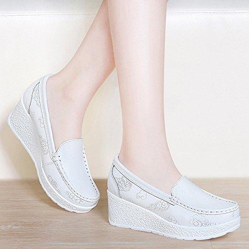 enfermeras gruesa mujer Tacones zapatos zapatos tacón zapatos HUAIHAIZ White de Las blanca botas de noche PU UwI6qEY