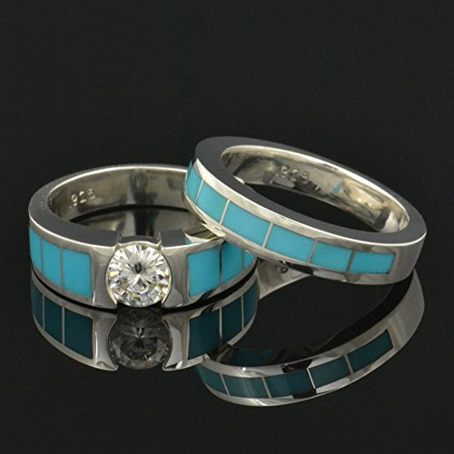 Amazon.com: Turquoise Wedding and Engagement Ring Set with ...