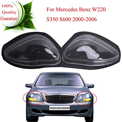 (General Mega Headlight Headlamp Lens Shell Cover for Mercedes Benz S-Class W220 S350 S500 S600 2000-2006 Left & Right Side )
