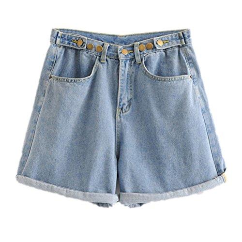 Oudan Femme Shorts de Jeans Taille Haute Shorts Amincissant Grande Taille Bleu
