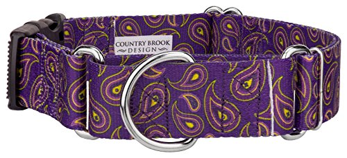 Country Brook Petz 1 1/2 Inch Purple Paisley Martingale With Deluxe Buckle - Large