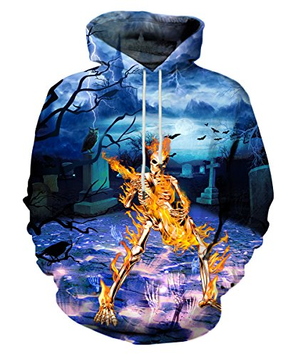 Neemanndy Mens 3D Printed Sweaters Hoodies Fire Skeleton Guitar Cool Music Band Sweaters for Men and Women, Small -
