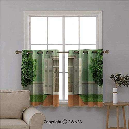"Fashion Window Valances Curtain Panel Home,Classical Decor of Garden of an Old House with Closed Window and Shutters,Top Window Treatments Short Curtains Tier,42""x54"" Green Cream,Set of 2 from RWN CURTAINS"
