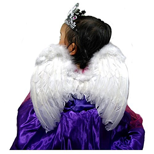 SACAS Small White Feather Angel Fairy Wings for kids, girls, or boys with Free Halo (Dark Angel Halloween Costume For Kids)