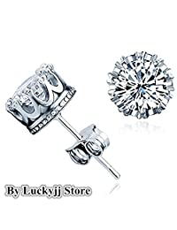 Luckyjj New Fashion 925 Sterling Silver Crown Shaped Austrian Crystal Stud Earrings for Both Men and Women Gift