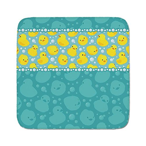 Cozy Seat Protector Pads Cushion Area Rug,Rubber Duck,Yellow Cartoon Duckies Swimming in Water Pattern with Fun Bubbles Aqua Colors,Teal Blue,Easy to Use on Any Surface