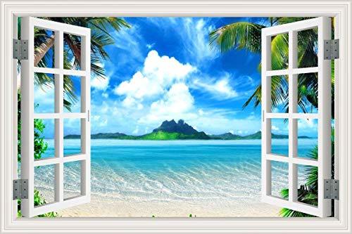 Cheap  HLJ ART Removable 3D Windows Landscape Wall Mural Stickers Home Decor Prints..