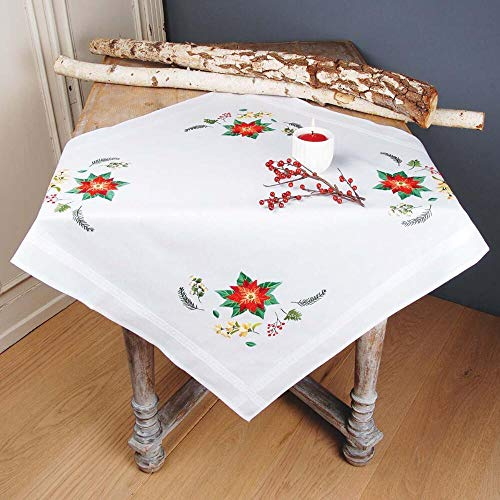 Vervaco Poinsettia Table Topper Stamped Embroidery Kit ()