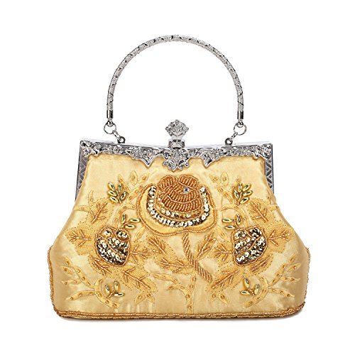 Mufly Women Vintage Style Evening Clutch Bag Stain Fabric Roses Beaded Handbag Clutches Purse For Wedding Party Bridal by Mufly
