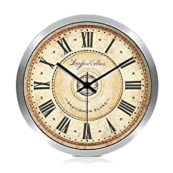ZHAS Hall Silent Wall Clock, Bedroom Kitchen Living Room Balcony Entrance Classroom Hotel Bar The Mall Wall Clock Metal Wall Clock 30-40CM (Color : White, Size : 35 35cm)