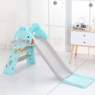 ROLENUNE Slide for Kids 3 Step Playset Children Slide Widen Slide Way Indoor Outdoor Toddler Backyard Climber Play Plastic Slide with Basketball Hoop Toys Boys Girls Playground Equipment Set Gift: Toys & Games