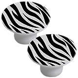 Set of 2 Zebra Print White Ceramic Cabinet Drawer Pull Knob