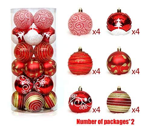 DUBAOBAO Adornos navideños. Conjunto de 48 Piezas de bisutería de Bola de Navidad Resistente a los Golpes, Colgante...
