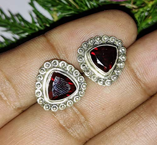Genuine Garnet Studs, Earrings Gemstone Jewelry for Her, Gifts for Women, Post Earrings, Sterling Silver Earrings, Bridesmaids, Red Garnet, Wedding & Engagement Gift, Unique Studs Earrings, Boho Stud