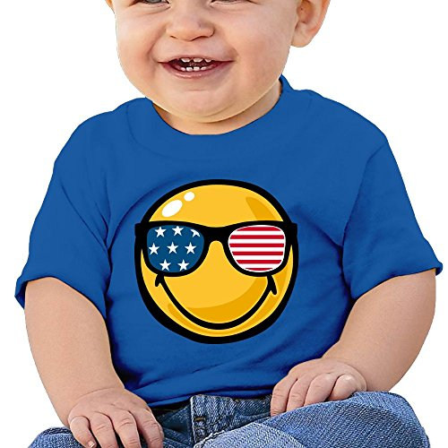 leeves T-Shirt Smiley Face American Flag Sunglasses Baby Boy Toddler ()