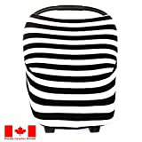 Car Seat Cover by Lechitas | Nursing Cover + Shopping Cart Cover + Highchair Cover | Multi Use/All In One Essential Cover in Black Stripe Design
