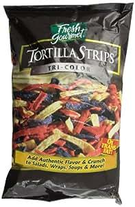 Fresh Gourmet Tortilla Strips, Tri Colored, 1 Pound