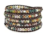 MO SI YI Multi-layer Braided Leather Wrap Bracelet with Multi-color 4mm Rounded Agate Beads (5 wrap)