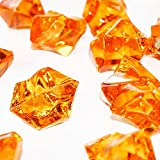 "Custom & Fancy {0.75'' x 1"" Inch} Approx 145 Pieces/16 oz of ""Table"" Party Confetti Made of Acrylic w/ Amber Topaz Gem Color Jewel Tone Sparkling Elegant Stone Shard Scatter Filler Design [Orange]"