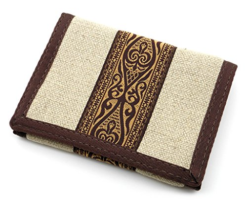 Hempy's Hemp Tri-fold Wallet with Tribal Trim – Natural – One Size