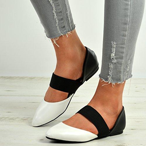 Femmes Dames Cucu Chaussures Pompes Nouvelles Flats Élastiquée Ballerine Blanc Pointy La Sangle Des Uk Mode Tailles axFawAUp