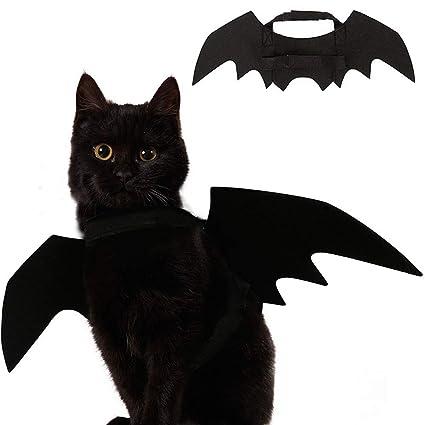2018 New Cat Costumes Halloween Party Pet Bat Wings Cat Bat Costume Black Fine Quality Cat Clothing