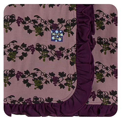 KicKee Pants Little Girls Print Ruffle Stroller Blanket - Raisin Grape Vines, One -