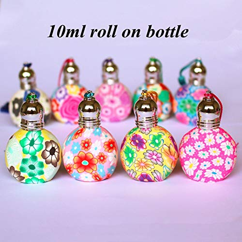 ForShop 10ml Round Glass Roll On Bottle Empty Polymer Clay Perfume Bottle Refillable Essential Oil Vials with Roller Ball Colorful Random ()