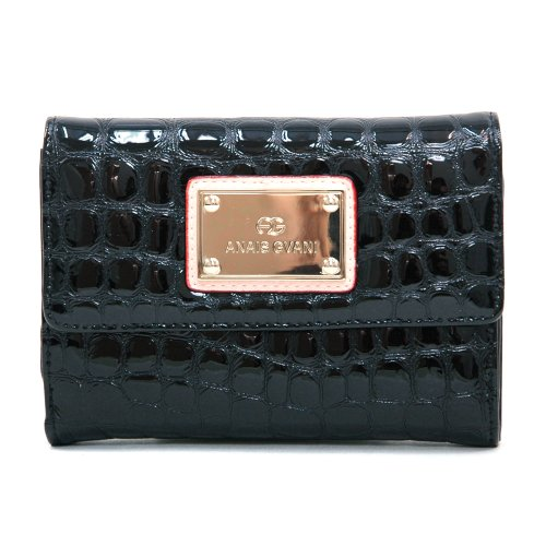 Anais Gvani Women's Classic Petite Croco Embossed Bi-fold Clutch Wallet -Black Croco Embossed Clutch